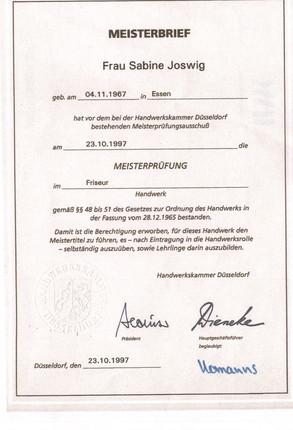 Meisterbrief Sabine Rau